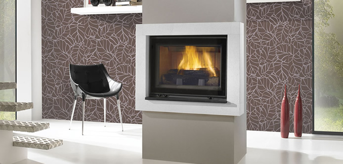 Beautiful inset fireplace hearth