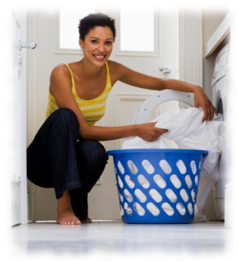 woman by clothes dryer